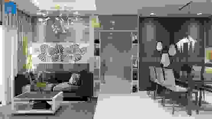 Không gian phòng khách nối liền với phòng bếp bởi Công ty TNHH Nội Thất Mạnh Hệ Hiện đại