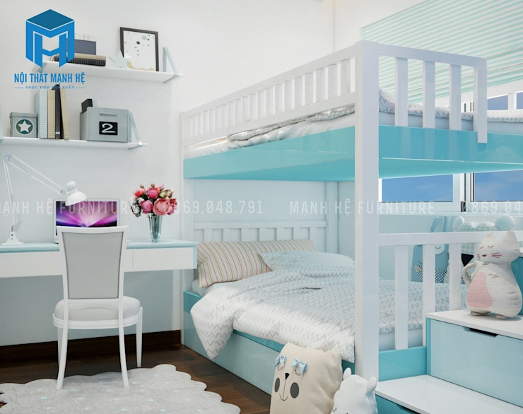 Phòng ngủ nhỏ được lắp đặt giường tầng khá tiện ích và tiết kiệm diện tích bởi Công ty TNHH Nội Thất Mạnh Hệ Hiện đại