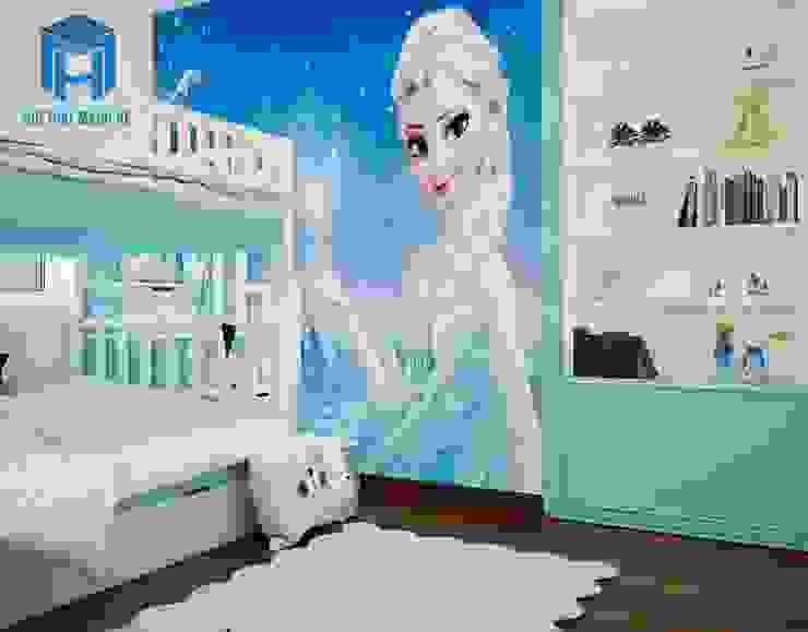 Giấy dán tường hình công chúa rất thích hợp với các thiên thần nhỏ Phòng ngủ phong cách hiện đại bởi Công ty TNHH Nội Thất Mạnh Hệ Hiện đại
