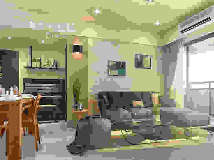 客廳/文化石/沙發背牆 现代客厅設計點子、靈感 & 圖片 根據 木博士團隊/動念室內設計制作 現代風