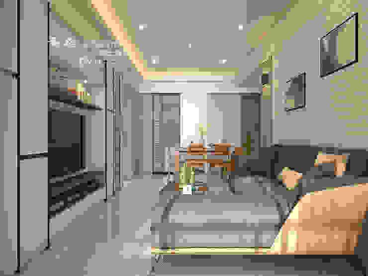 客廳/木作/墨鏡/鐵件/超耐磨木地板 现代客厅設計點子、靈感 & 圖片 根據 木博士團隊/動念室內設計制作 現代風