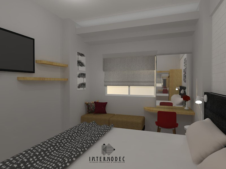 Minimalis Apartment Mrs. LK :  Ruang Kerja by Internodec