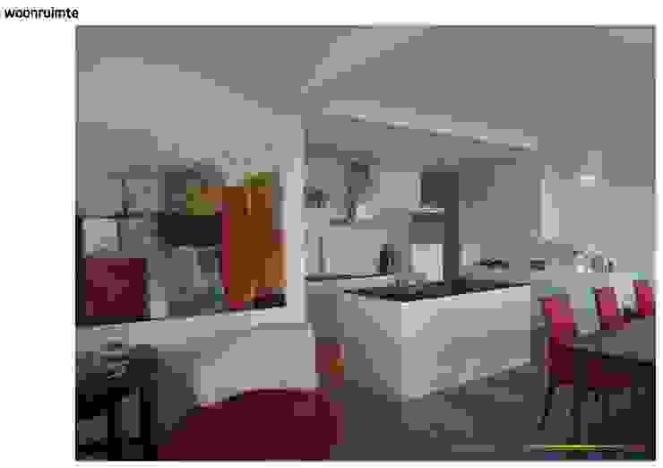 appartement aan de maas Moderne woonkamers van KleurInKleur interieur & architectuur Modern