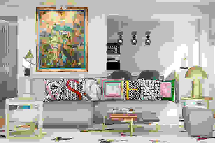 Pequeno, grande apartamento Estoril Salas de estar ecléticas por Inêz Fino Interiors, LDA Eclético Mármore