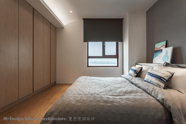 主臥室全景 Hi+Design/Interior.Architecture. 寰邑空間設計 Minimalist bedroom