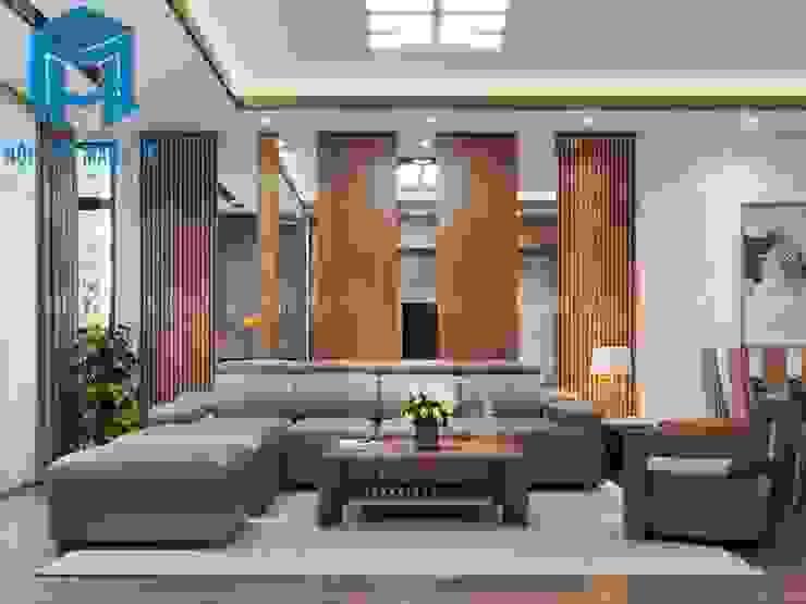 Bộ ghế sofa nệm khung gỗ khá sang trọng và hiện đại bởi Công ty TNHH Nội Thất Mạnh Hệ Hiện đại