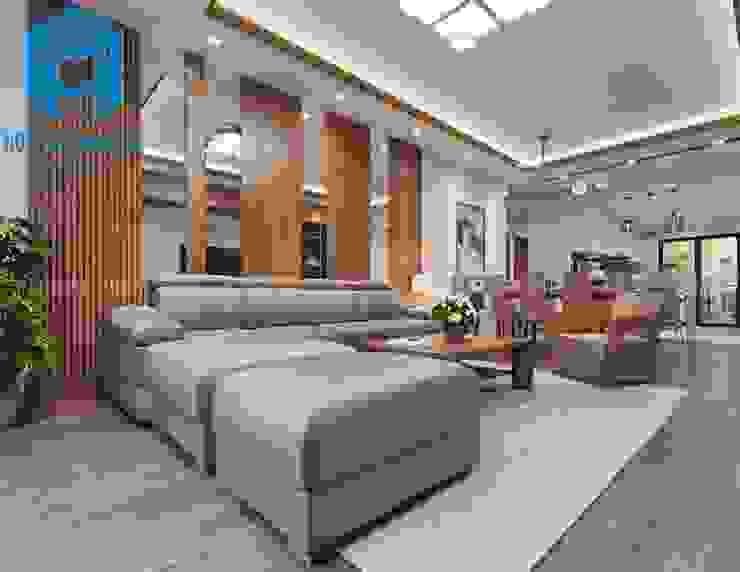 Tổng thể nội thất phòng khách và phòng bếp bởi Công ty TNHH Nội Thất Mạnh Hệ Hiện đại