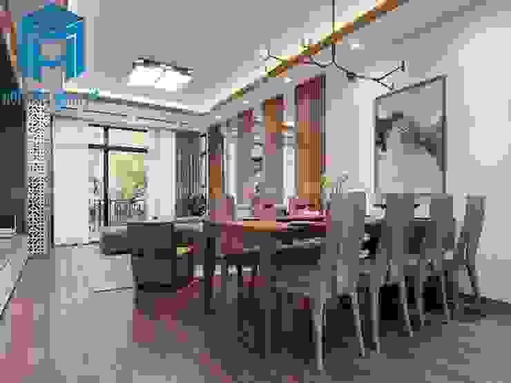 Phòng bếp và phòng khách liền kề nhau tạo nên sự liên kết khá hữu ích trong không gian của ngôi nhà Phòng ăn phong cách hiện đại bởi Công ty TNHH Nội Thất Mạnh Hệ Hiện đại