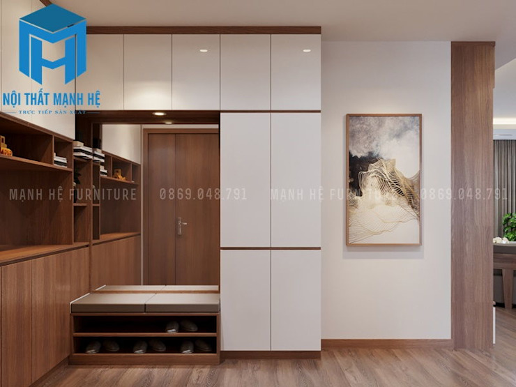 Tủ giày cùng với hệ thống tủ nhiều ngăn, hộc khá tiện ích bởi Công ty TNHH Nội Thất Mạnh Hệ Hiện đại