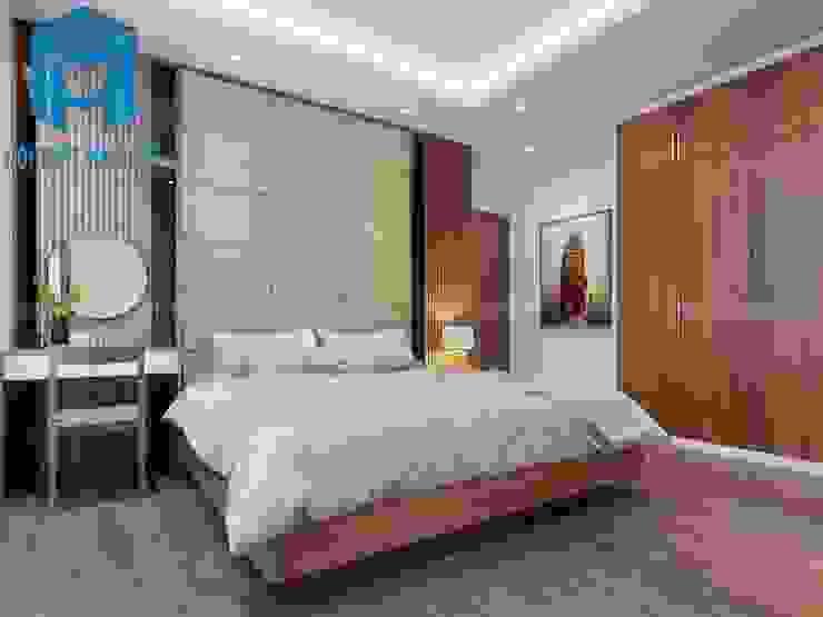 Đầu giường phòng ngủ được ốp mút tạo cho gia chủ có cảm giác ấm áp và an toàn Phòng ngủ phong cách hiện đại bởi Công ty TNHH Nội Thất Mạnh Hệ Hiện đại