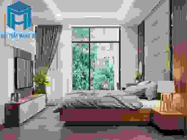 Không gian phòng ngủ khá thoáng đãng khi có thêm cửa lớn từ ban công Phòng ngủ phong cách hiện đại bởi Công ty TNHH Nội Thất Mạnh Hệ Hiện đại