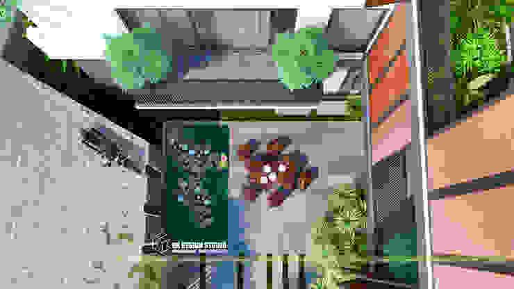 sân vườn THIẾT KẾ BIỆT THỰ HIỆN ĐẠI MÁI BẰNG bởi UK DESIGN STUDIO - KIẾN TRÚC UK