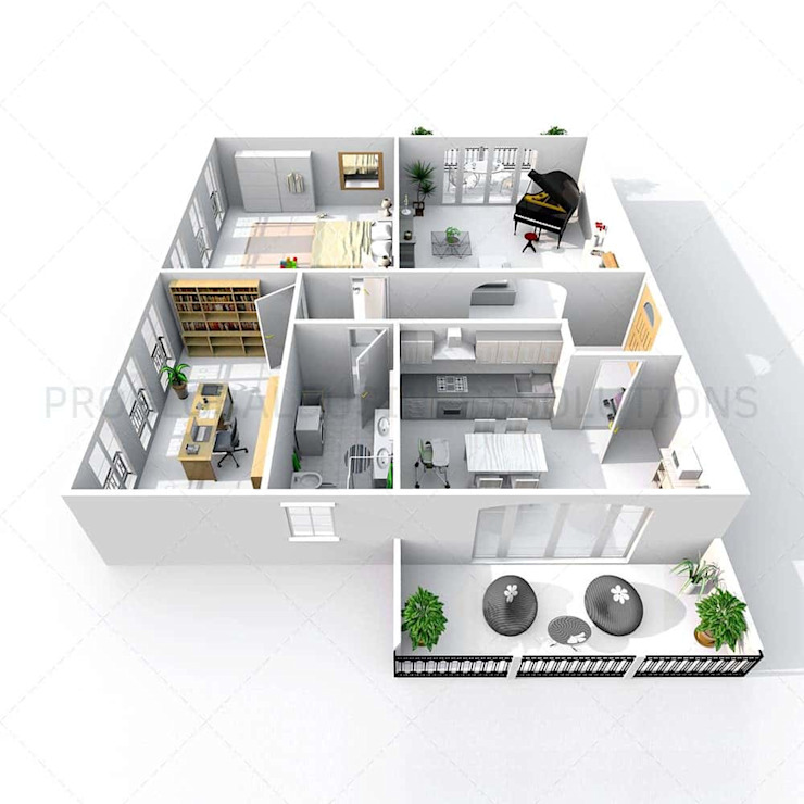 3D floor plan isometric view by Proglobalbusinesssolutions
