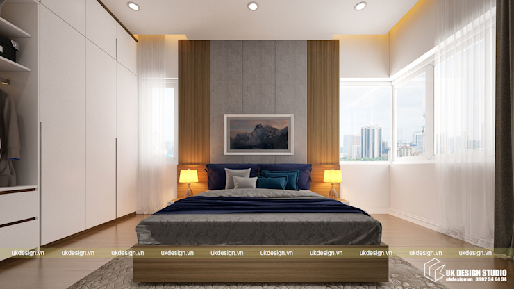 Thiết kế phòng ngủ Phòng ngủ phong cách hiện đại bởi UK DESIGN STUDIO - KIẾN TRÚC UK Hiện đại
