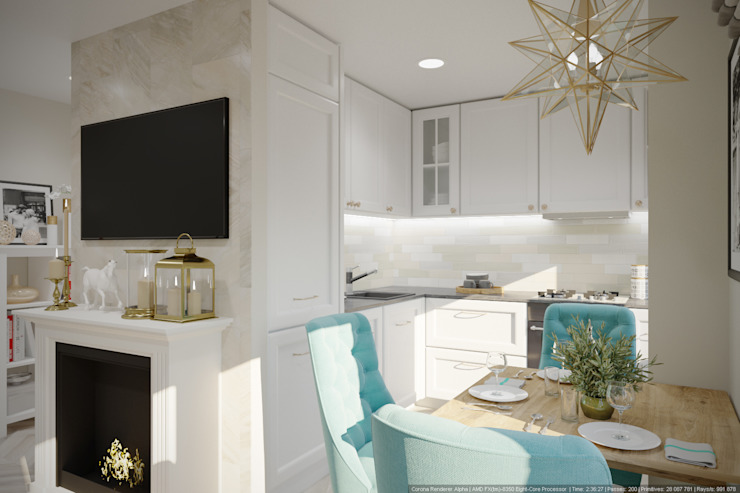 Однокомнатная квартира в которой есть всё: Кухни в . Автор – дизайн-бюро ARTTUNDRA, Классический