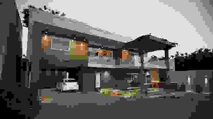 lateral Casa Fachada Moderna: Condomínios  por Gelker Ribeiro Arquitetura   Arquiteto Rio de Janeiro