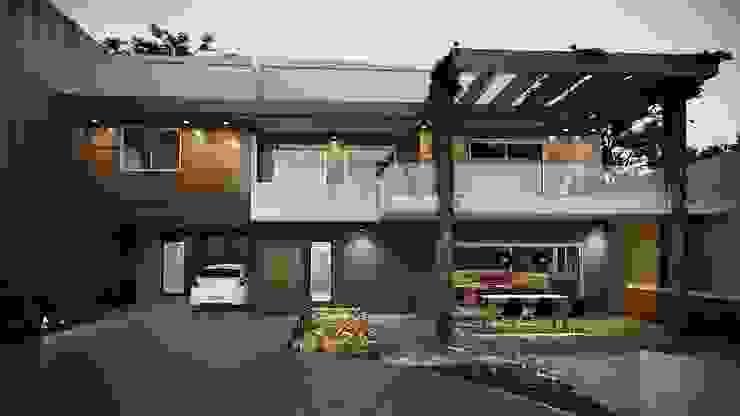 Projeto Casa Fachada Moderna pergolado an varando superior: Condomínios  por Gelker Ribeiro Arquitetura   Arquiteto Rio de Janeiro