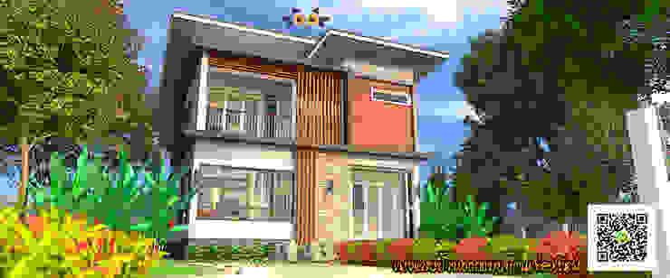 บ้านพักอาศัยสองชั้น อ.สันป่าตอง จ.เชียงใหม่ โดย แบบบ้านออกแบบบ้านเชียงใหม่ โมเดิร์น คอนกรีต