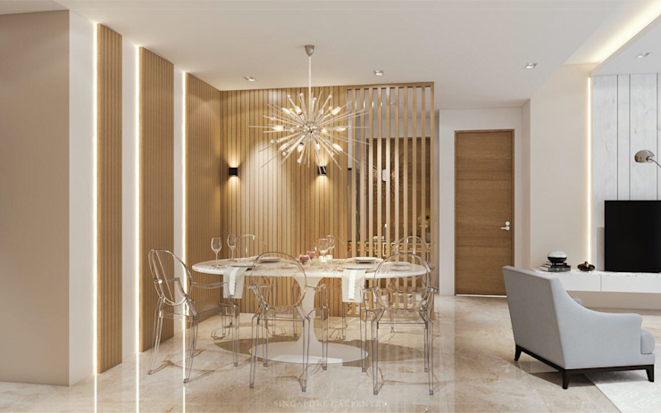 Modern Glamour at Holland Village Condo Modern living room by Singapore Carpentry Interior Design Pte Ltd Modern