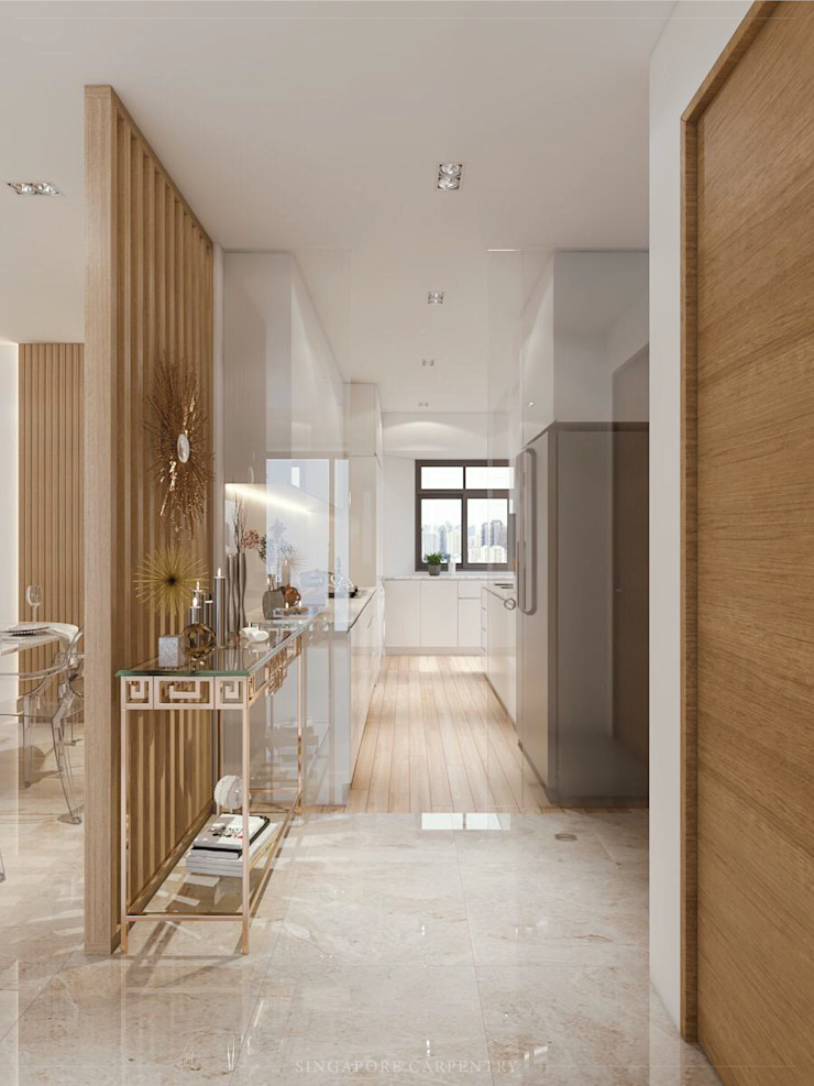 Modern Corridor, Hallway and Staircase by Singapore Carpentry Interior Design Pte Ltd Modern