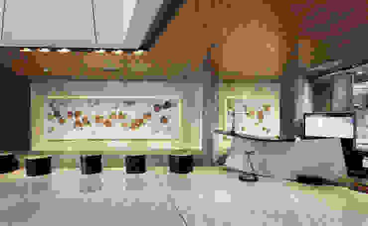 Resepsionis Kantor & Toko Tropis Oleh Bobos Design Tropis