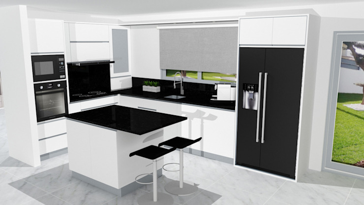 MJF Interiores Ldª KitchenCabinets & shelves Black