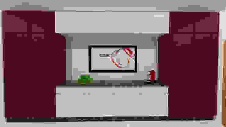 MJF Interiores Ldª KitchenCabinets & shelves Red