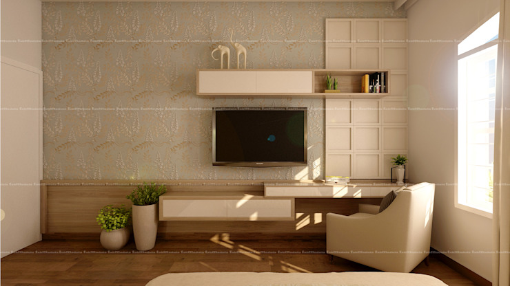 3BHK Interiors Classic style media room by Fabmodula Classic