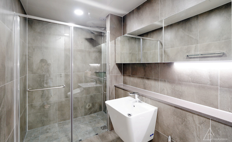 비오는 날이 잘 어울리는 차분한 그레이 인테리어 모던스타일 욕실 by 디자인 아버 모던