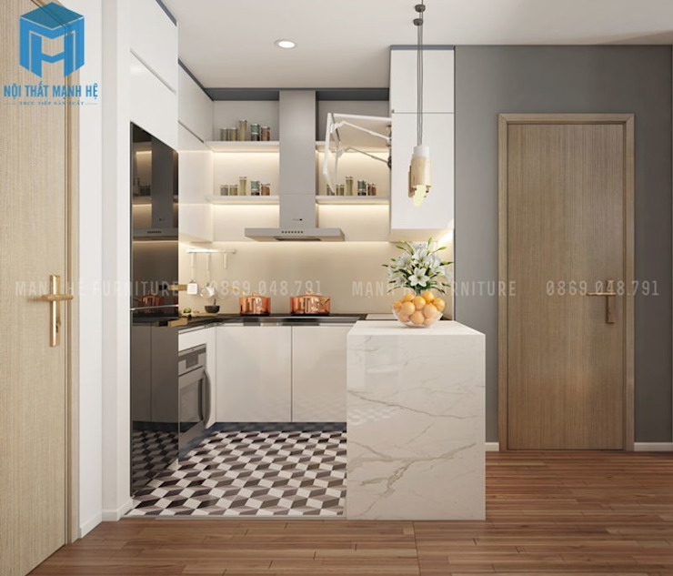 Không gian phòng bếp khá đơn giản Phòng ăn phong cách hiện đại bởi Công ty TNHH Nội Thất Mạnh Hệ Hiện đại