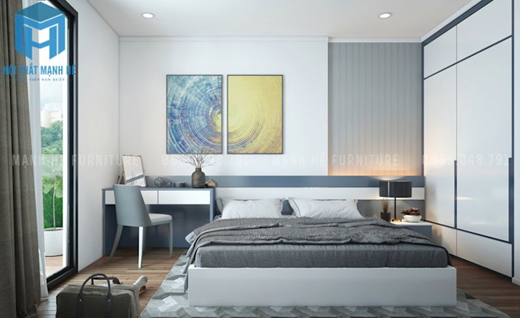Không gian phòng ngủ nhỏ Phòng ngủ phong cách hiện đại bởi Công ty TNHH Nội Thất Mạnh Hệ Hiện đại