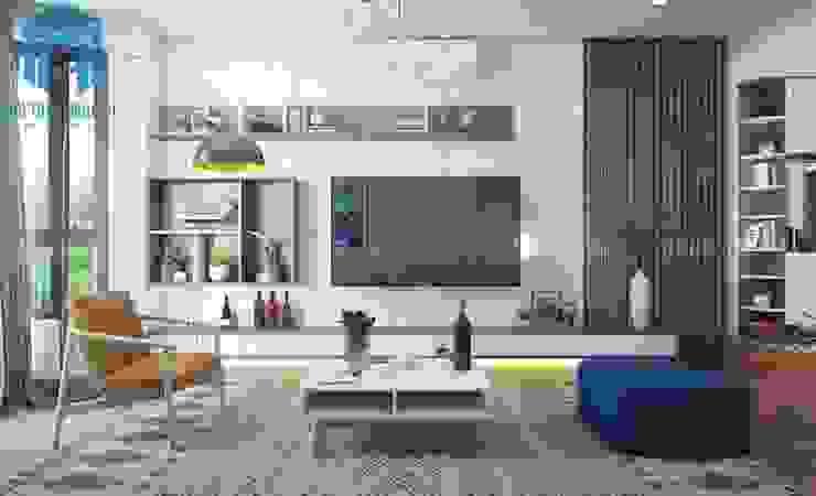 Phòng khách mang hơi thở của sự hiện đại và tinh tế đến từng chi tiết bởi Công ty TNHH Nội Thất Mạnh Hệ Hiện đại