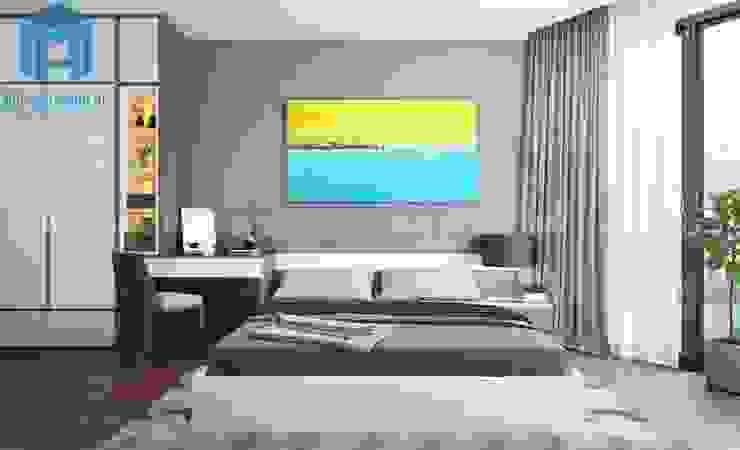 Nội thất phòng ngủ master tuy đơn giản nhưng vẫn mang đến cho gia chủ cảm giác ấm áp Phòng ngủ phong cách hiện đại bởi Công ty TNHH Nội Thất Mạnh Hệ Hiện đại