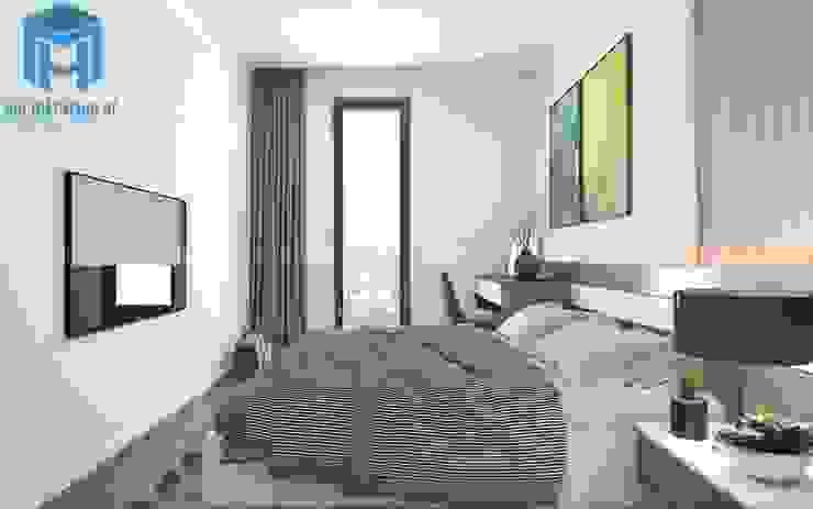Không gian phòng ngủ nhỏ khá hiện đại và trầm ấm Phòng ngủ phong cách hiện đại bởi Công ty TNHH Nội Thất Mạnh Hệ Hiện đại