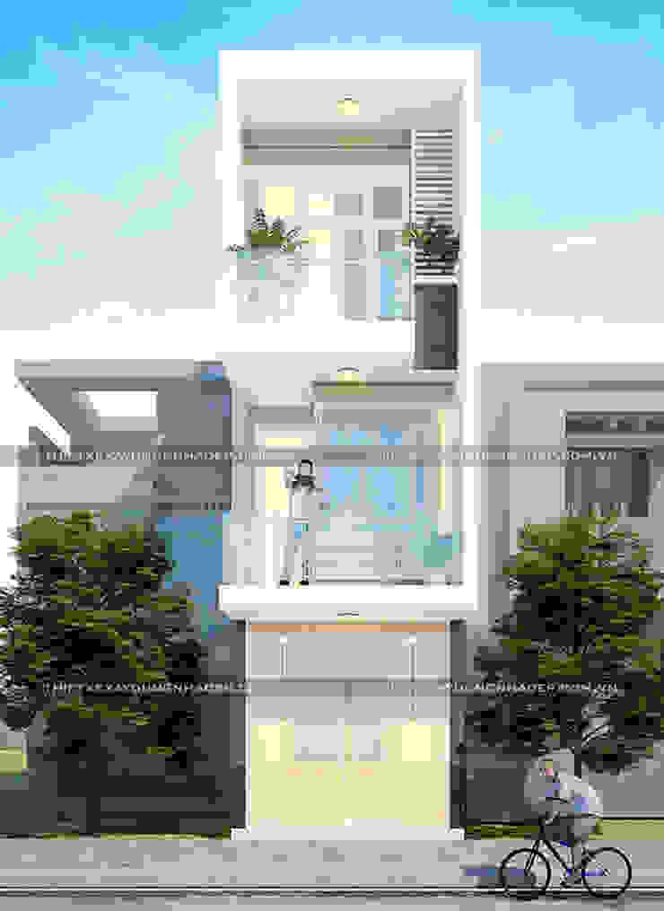 Mặt tiền nhà 3 tầng rộng 3m bởi Công ty cổ phần tư vấn kiến trúc xây dựng Nam Long Hiện đại