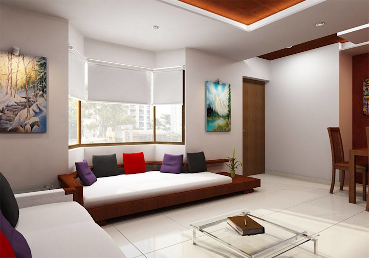 BEDROOM and LIVING ROOM INTERIORS Modern living room by Monoceros Interarch Solutions Modern