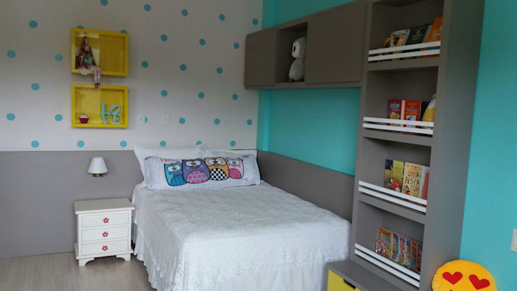 Rita Corrassa - design de interiores ห้องนอนเด็กเตียงเด็กและเปลเด็ก แผ่น MDF Turquoise