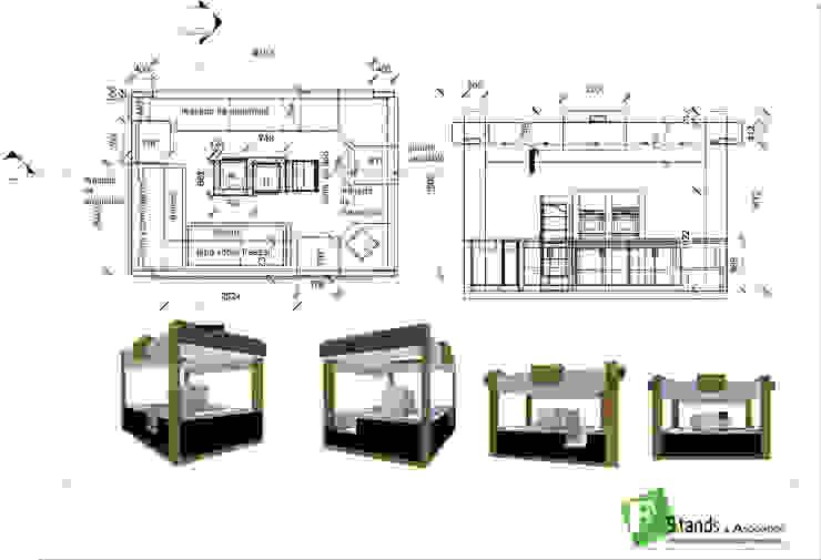 Góndola en Isla para la comercialización de empanadas : Shoppings y centros comerciales de estilo  por Faerman Stands y Asoc S.R.L. - Arquitectos - Rosario,Minimalista Derivados de madera Transparente