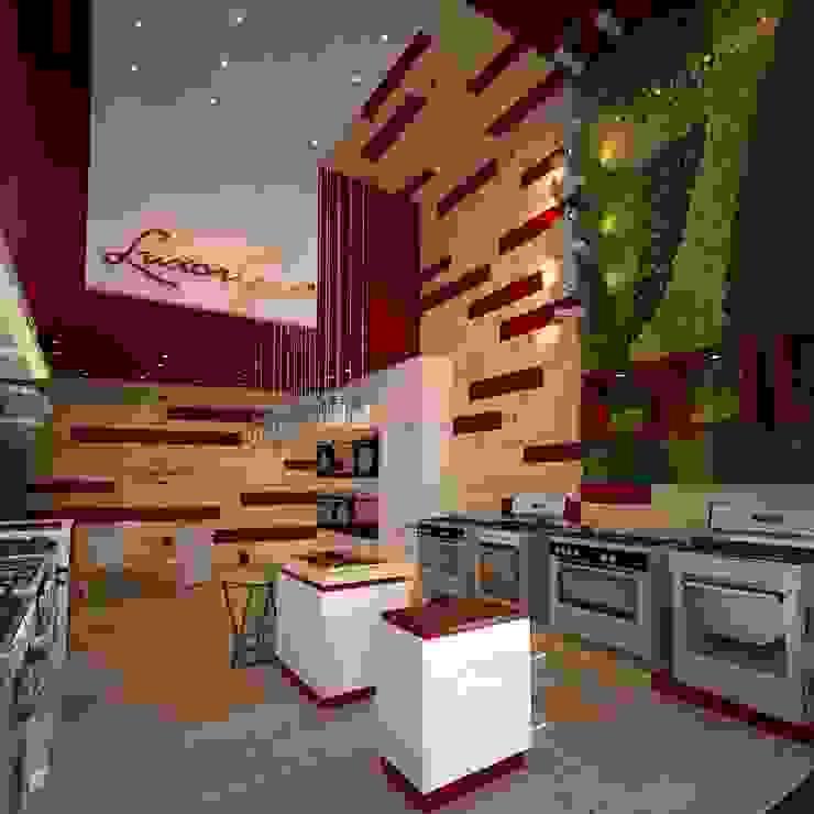 Interior de local comercial : Galerías y espacios comerciales de estilo  por Faerman Stands y Asoc S.R.L. - Arquitectos - Rosario,Moderno Madera Acabado en madera