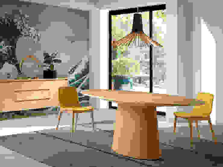 Comedor de diseño italiano con mesa ovalada de roble de ANGEL CERDA Moderno Madera Acabado en madera
