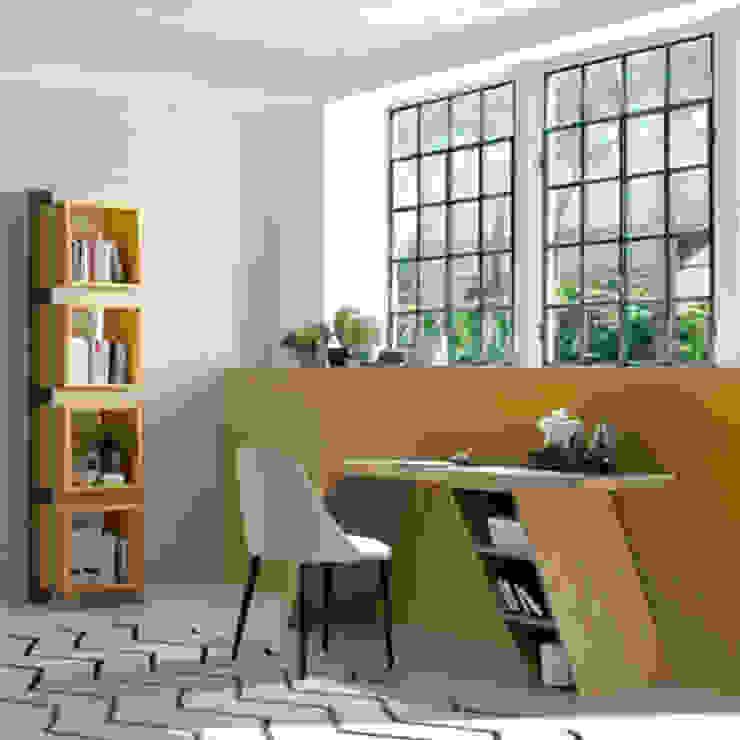 Oficina/Despacho de diseño con muebles fabricados en roble de Angel Cerdá de ANGEL CERDA Moderno Madera Acabado en madera