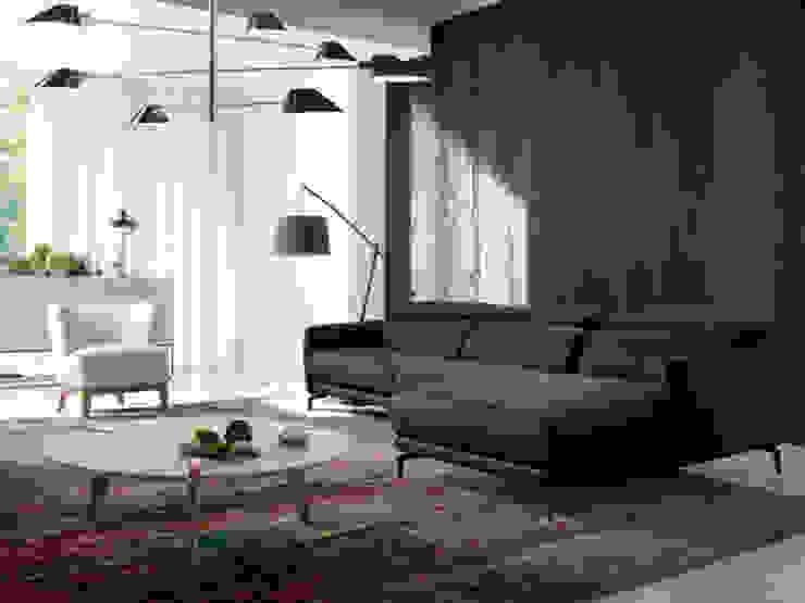 Salón con sofá chaiselong de diseño tapizado en piel de la nueva colección Atelier de Angel Cerdá de ANGEL CERDA Moderno Piel Gris
