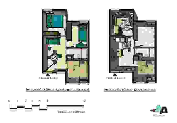 Mobiliario modular y multifuncional para viviendas inferiores a los 50mts2 Livings de estilo escandinavo de Cindy Castañeda Escandinavo