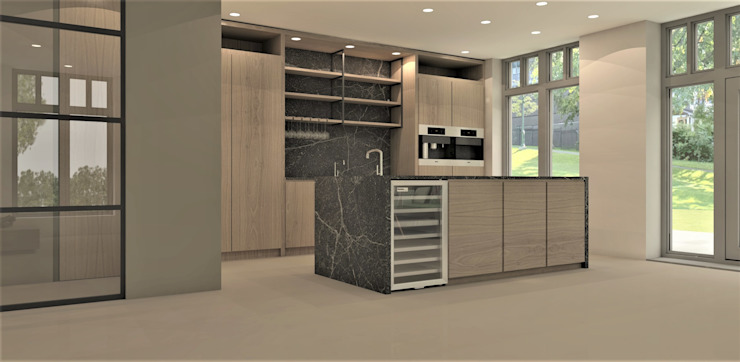 Keuken met zwart marmer Moderne keukens van Studio DEEVIS Modern