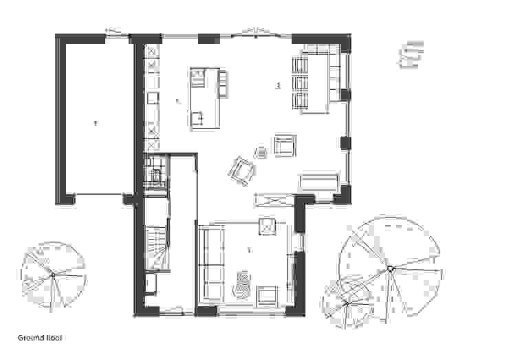 plattegrond woonkamer: modern  door Studio DEEVIS, Modern