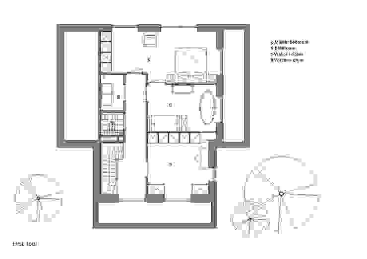 Plattegrond eerste verdieping: modern  door Studio DEEVIS, Modern