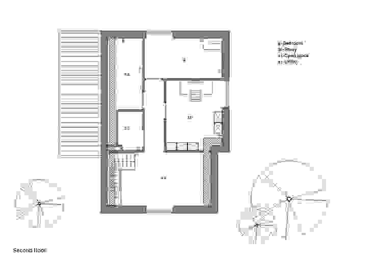 Plattegrond tweede verdieping: modern  door Studio DEEVIS, Modern