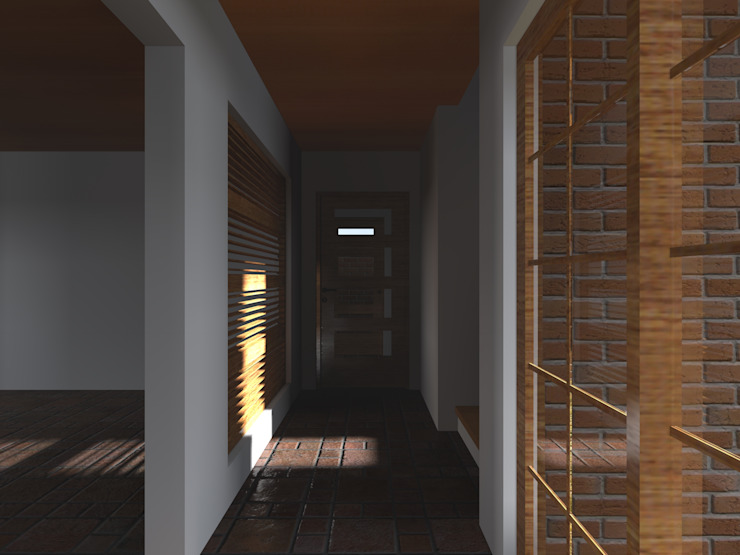 Country style corridor, hallway& stairs by Vicente Espinoza M. - Arquitecto Country