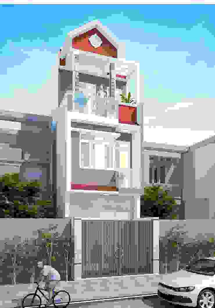Mẫu nhà ống đẹp 3 tầng bởi Công ty cổ phần tư vấn kiến trúc xây dựng Nam Long Chiết trung Bê tông