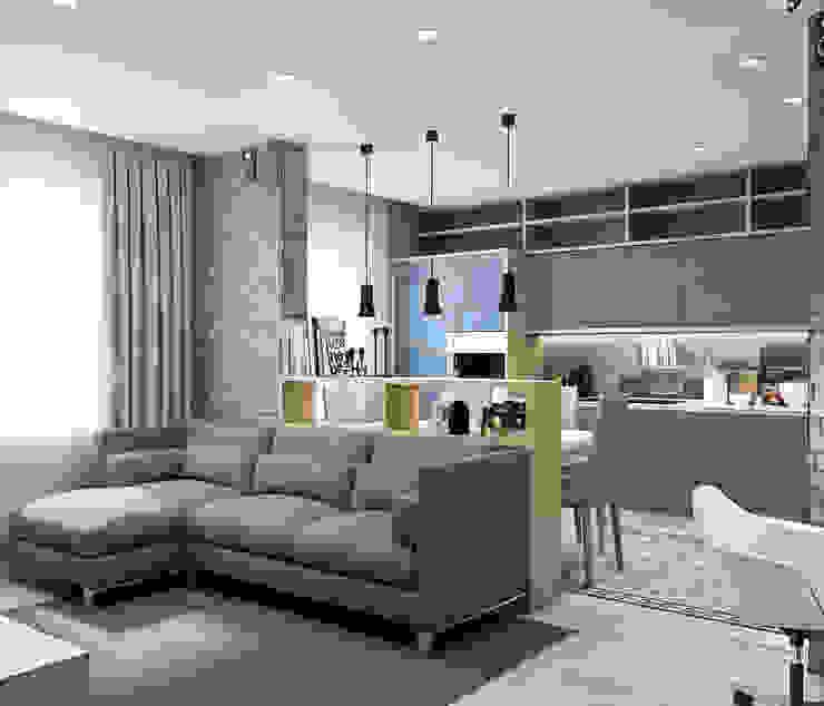 Квартира для молодой семьи в Скандинавском стиле Гостиная в скандинавском стиле от PlatFORM Скандинавский